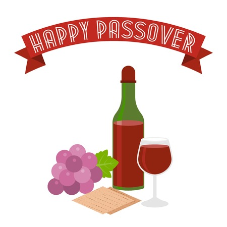 seder: Happy passover with grapes, wine, matzo, flat design Illustration