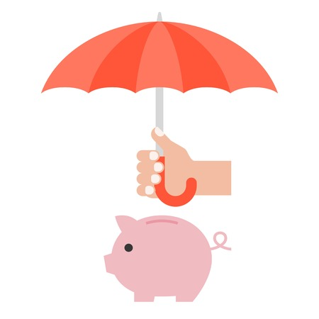 protect money: Hand holding umbrella to protect money in piggy bank,financial planing and money management concept Illustration