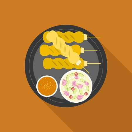 curry dish: Satay, grilled pork or meat with sauce, Thai and Indonesia food, flat design