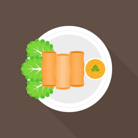 spring roll: Spring roll , Thai and Chinese food, flat design