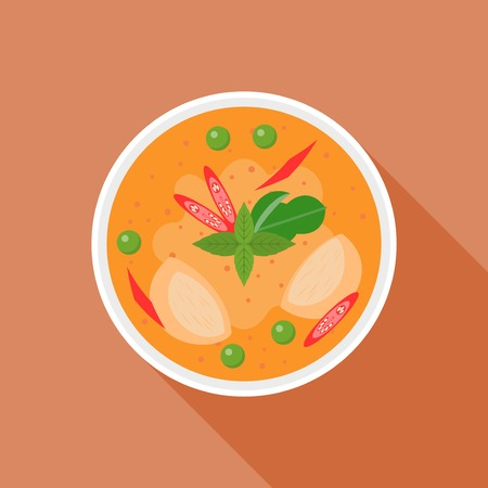 Red curry, Thai food, flat design