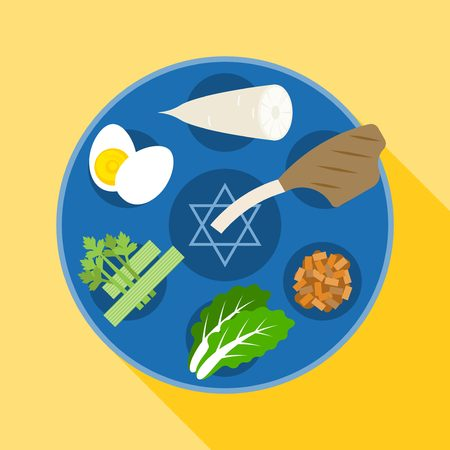 seder plate: Passover seder, Happy Jewish holiday Pesach , Charoset, Chazeret flat design