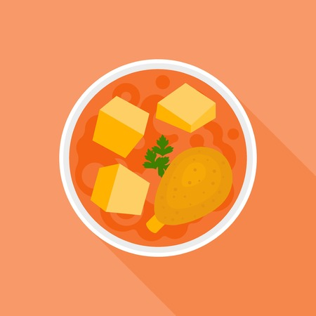 Massaman or red curry, Thai food, flat design