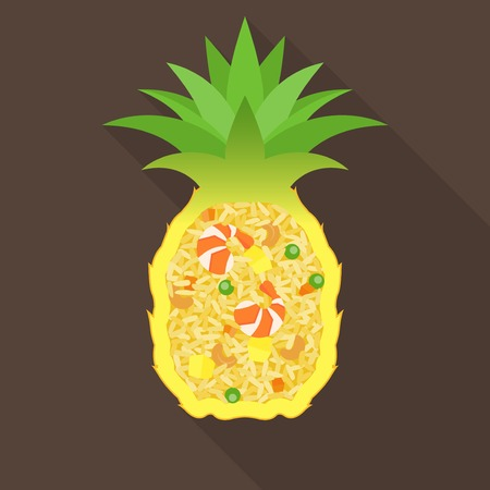 fried rice: Pineapple fried rice, Thai food, flat design