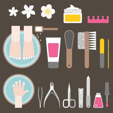soak: manicure and pedicure, flat design