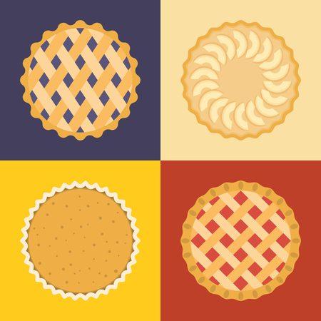 Pie icon set, raspberry, cherry, blackcurrant, apple, pumpkin, flat design, set 2