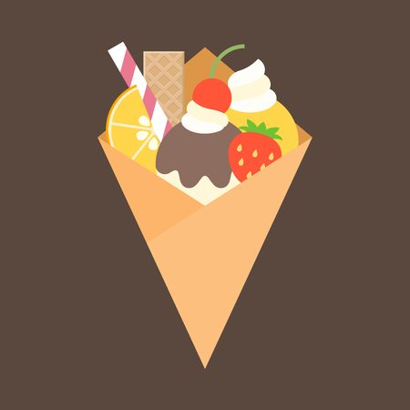 topping: crepes with topping, fruits, wafer, orange, cherry, whip cream, strawberry, jam and ice cream, flat design
