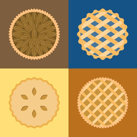 Pie icon set, pecannoten, bosbessen, appel, aardappel, platte ontwerp, set 1