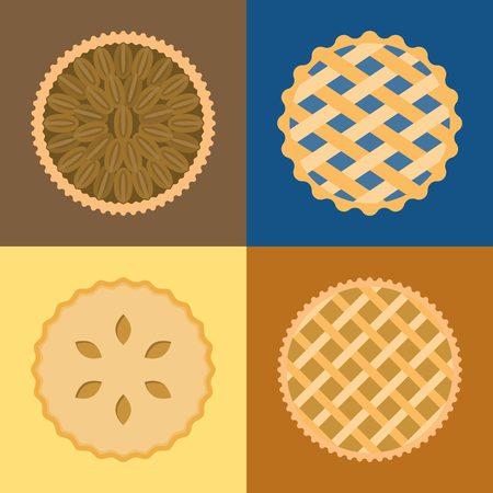 Pie icon set, pecan, blueberry , apple, potato, flat design, set 1