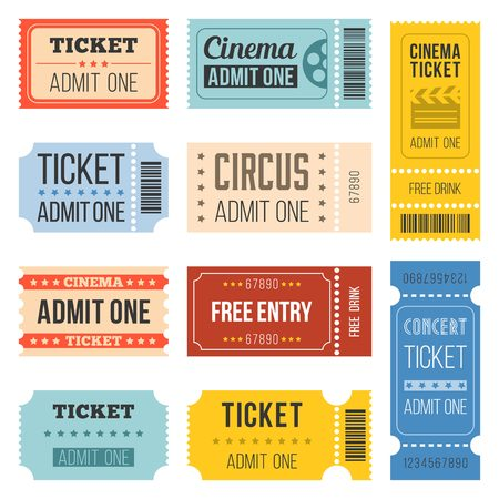 Vintage Tickets in different style,flat design set 4 Stock Vector - 57915914