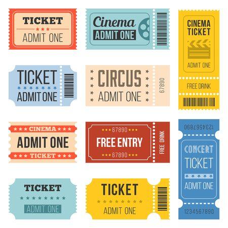 Vintage Tickets in verschillende stijl, vlakke ontwerp set 4