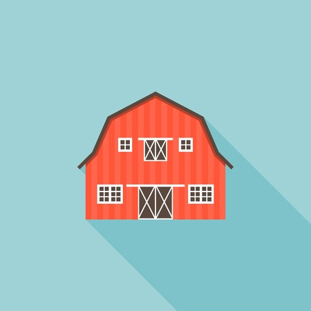 barn wood: Barn icon vector, flat design