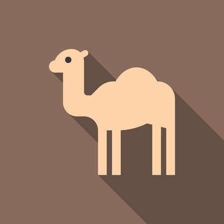 camel in desert: Camel icon with long shadow, flat design