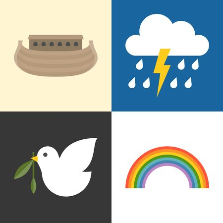 noahs: Noahs ark icons set, rainbow, raining, pigeon and olive branch flat design