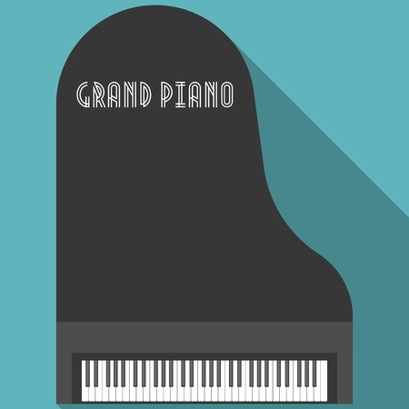 vecteur grand piano, design plat