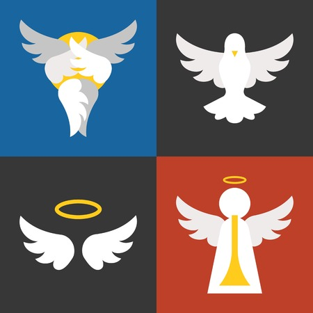 animal angelic: christian sign and symbol, angel, pigeon, seraphim flat design