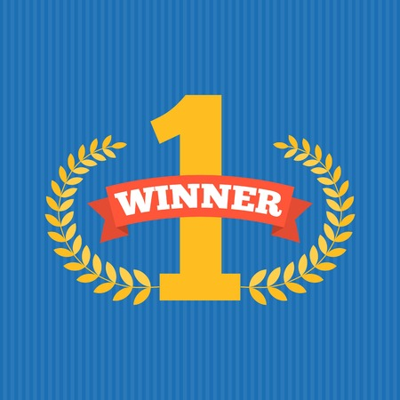 blue stripe: number one first sign, the winner with wreath, flat design with ribbon and blue stripe background