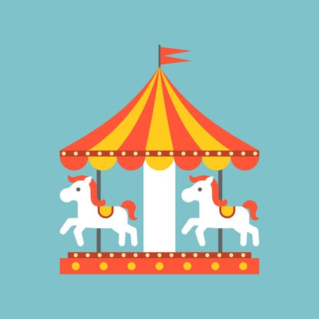 round: merry go round vector in funfair, merry go round icon, flat design