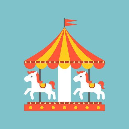 merry go round vector in funfair, merry go round icon, flat design Vetores