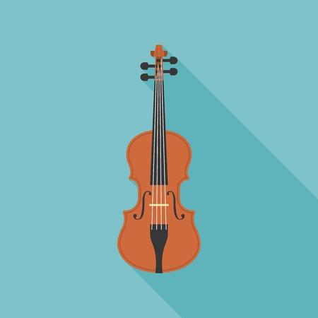 viola: wooden violin, viola vector, flat design