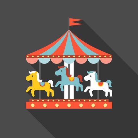 merry go round: merry go round vector in funfair, merry go round icon, flat design