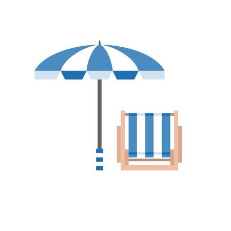 paraplu en stoel vectorillustratie, strandbed en strandparaplu icoon, vakantie symbool, plat ontwerp Stock Illustratie