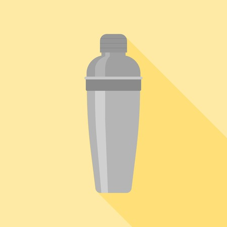 martini shaker: cocktail shaker icon with long shadow vector, flat design