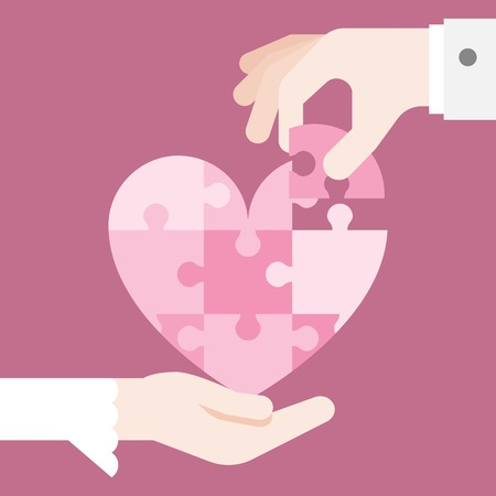 heart puzzle: bride and grooming Hands holding heart jigsaw puzzle, vector design for wedding invitation card, romantic and love concept, flat design