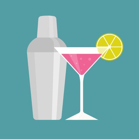 martini shaker: Shaker with pink martini, cocktail and shaker icon, flat design