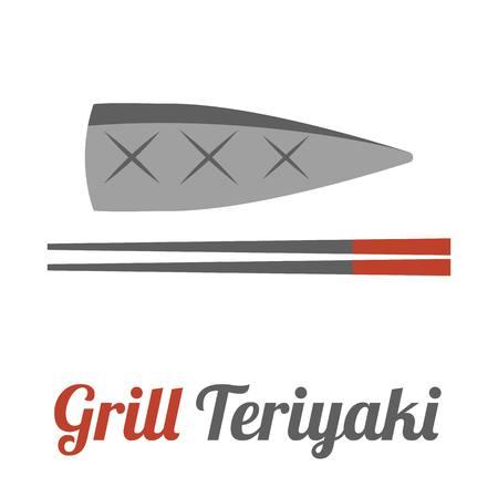 mackerel: Vector mackerel and chopstick,flat design