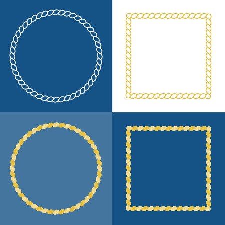 rope border: circle rope frame , rope border with navy blue background, nautical frame style concept in flat design and line art Illustration
