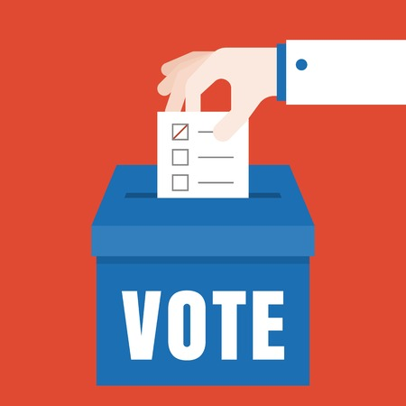 business hand Vote illustration, Vote for election concept vector, flat design 일러스트