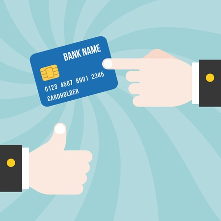 finger point: finger point at credit card with thumb up on spiral background, design for credit card commercial and advertise, credit card concept for business and banking illustration, flat design