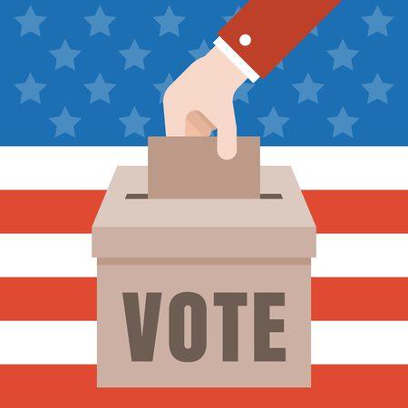 voter registration: Vote illustration with american flag background, Vote for america 2016 election concept vector, flat design