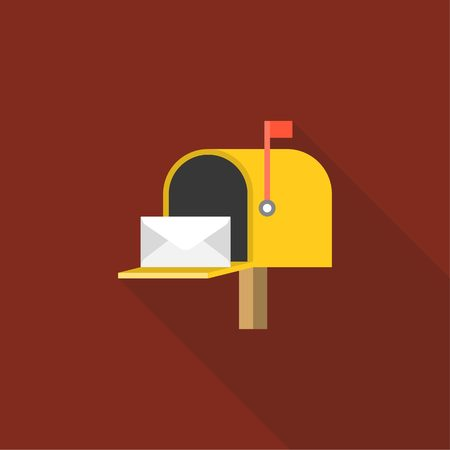 letter box: Open Mail box  post illustration, Post box vector, mail box post isolated with long shadow flat design, Yellow letter box icon with letter inside