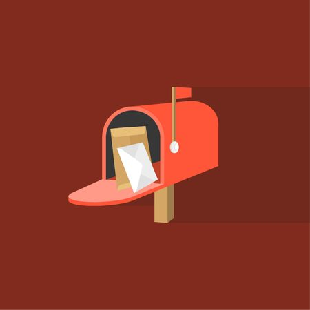 letter box: Open Mail box  post illustration, Post box vector, mail box post isolated with long shadow flat design, Red letter box icon with letter and envelope inside