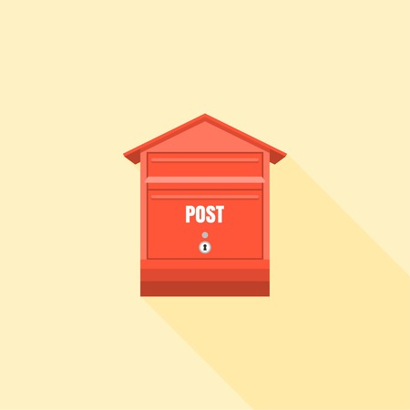 letter box: Mail box  post illustration, Post box vector, mail box post isolated with long shadow flat design, Red letter box icon collection set 3