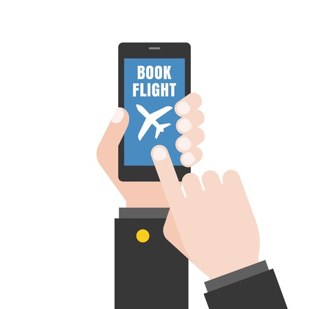 using smart phone: Hand holding  smart phone illustration, Hand touching screen,Hand Using smart phone for book flight, Business airline booking flight concept, flat design Illustration