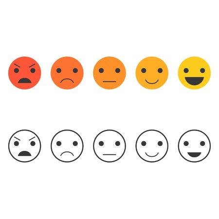 Terugkoppeling emoticon set, Line Emoticon collectie, feedback emoticon vector illustratie plat ontwerp Stock Illustratie