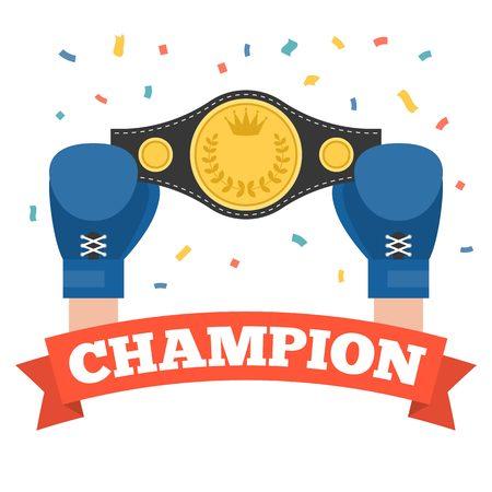 Boks holding mistrzostwa pas z mistrzem czerwoną wstążką, pojęcie zwycięzca boks, boks płaska
