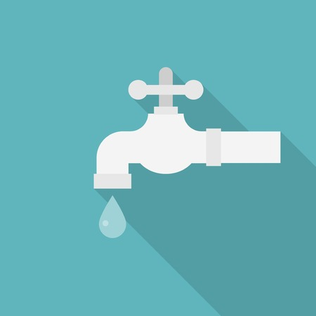 economize: Water tab illustration vector, faucet with droplet icon ,flat design