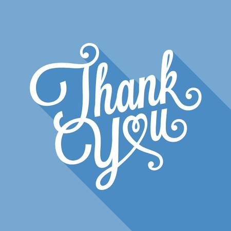 caligraphic: Thank you typographical illustration vector, Thank you calligraphic design for poster, card, and holidays, flat design with long shadow