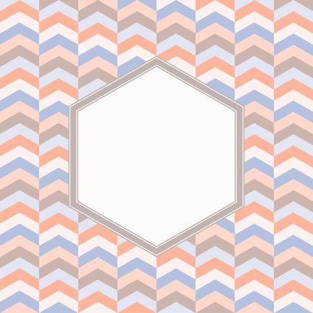 pastel tone: blank hexagon frame with chevron geometric background, hexagonal border and pastel tone chevron pattern background