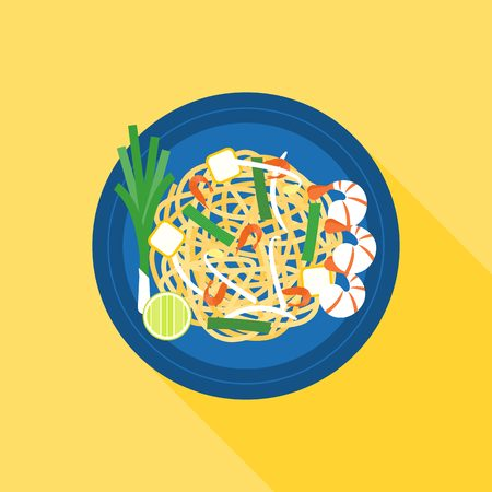 Thai food, Pad thai (Stir-fried rice noodle), flat design