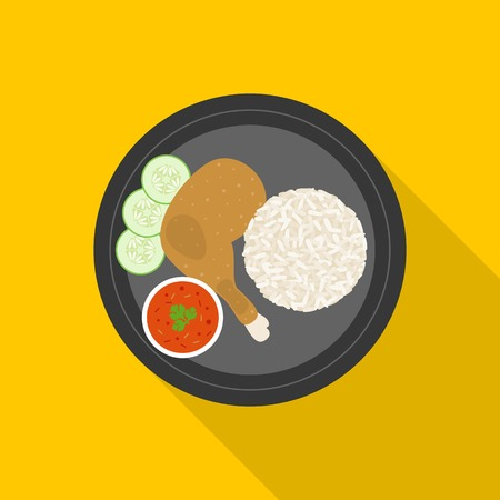 chicken rice: Thai food, Grilled chicken with Sticky rice Illustration