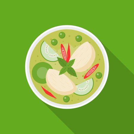 hot asian: Тайская еда, курица с зеленым карри, плоский дизайн