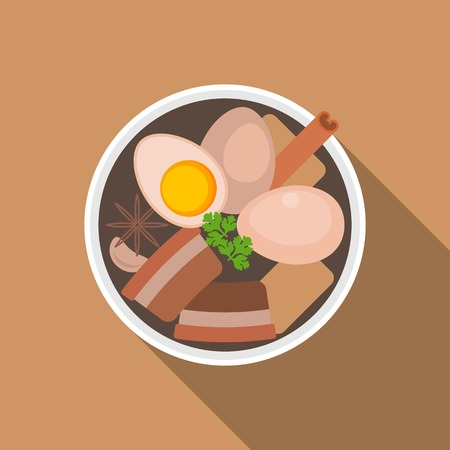 sweet sauce: Thai food, Pa lo(Stewed Pork with Eggs), flat design Illustration