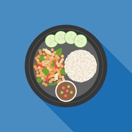 Il cibo tailandese, Pad ka prao (basilico di pollo fritto), piatto design Vettoriali