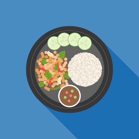 Thai food, Pad ka prao(Basil Chicken Stir-Fry), flat design Illustration