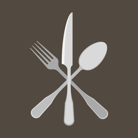 fork and spoon: Fork, Spoon and knife, flat design Illustration